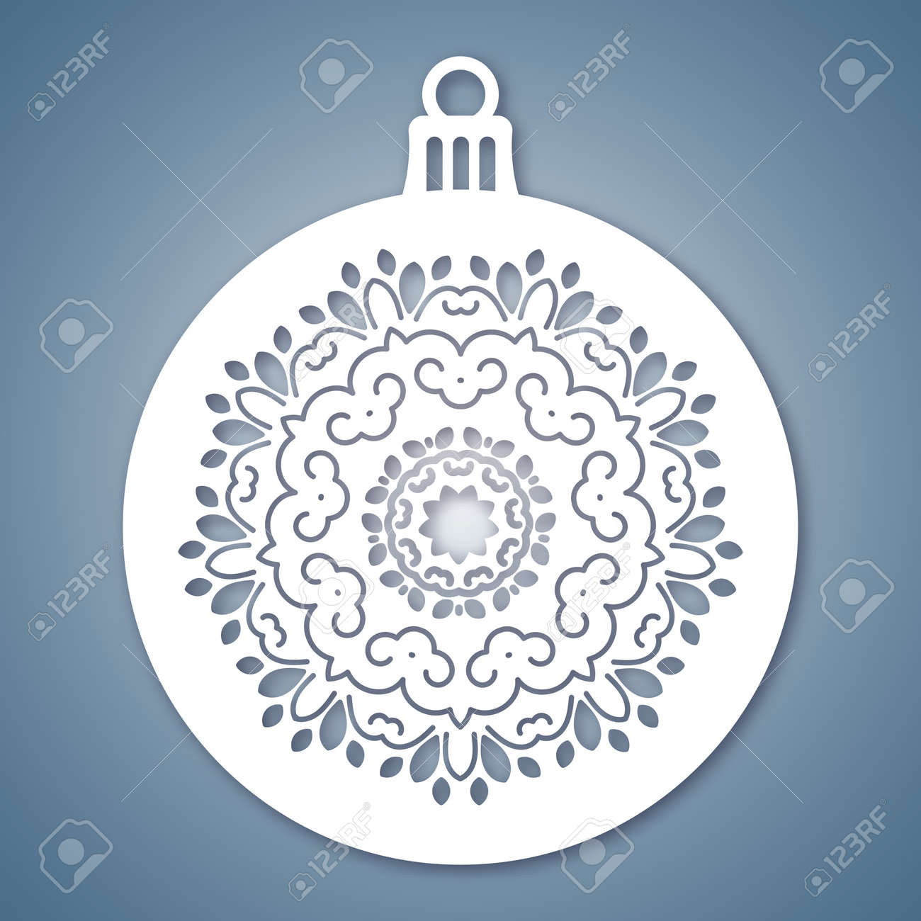 Christmas Ball With Geometric Pattern. Laser Cutting Template ...