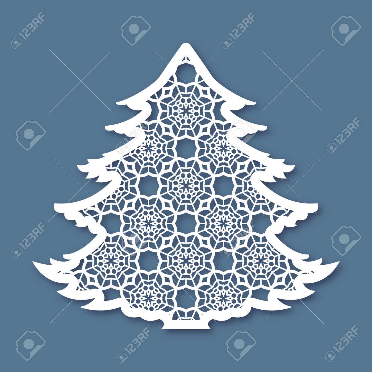 Weihnachtsbaum Mit Geometrischen Muster. Laserschneiden Schablone ...