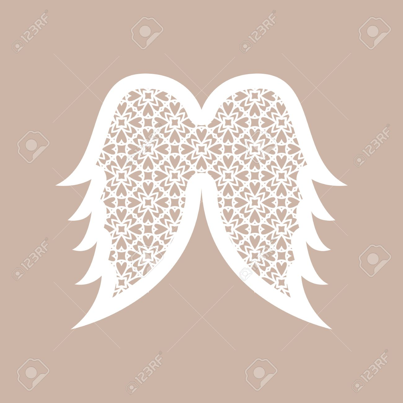 christmas angel wings with geometric pattern laser cutting template