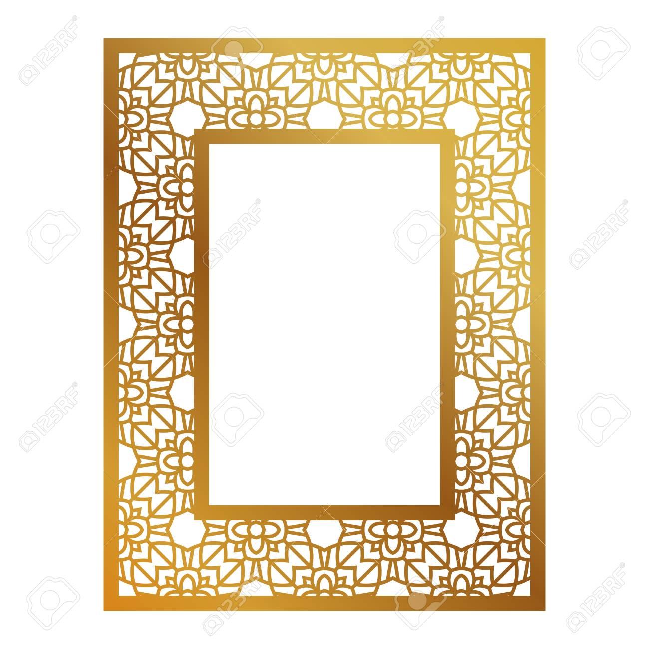 Rahmen Mit Geometrischen Muster. Schneiden Laser-Quadrat-Vorlage Für ...