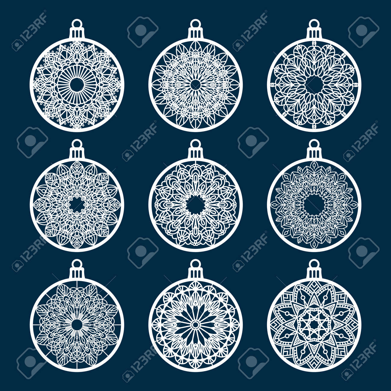 christmas ball set with snowflake laser cutting template for