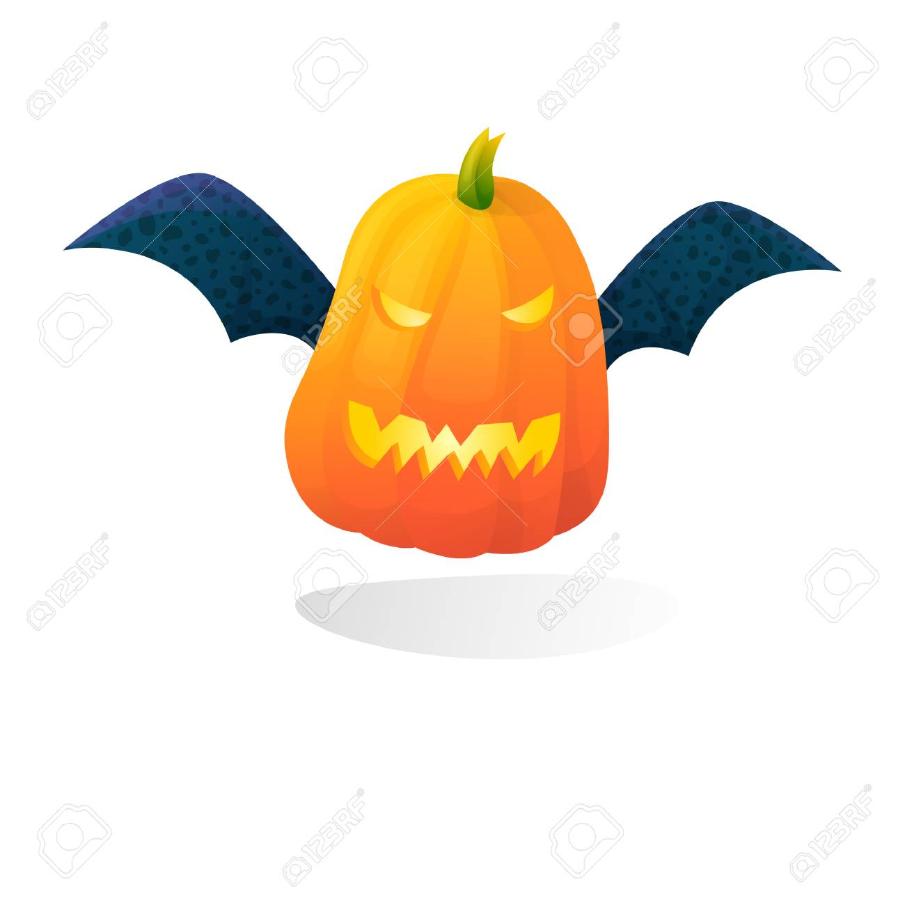 Vector Halloween Scary Bat Pumpkin Isolated On White Background Royalty Free Cliparts Vectors And Stock Illustration Image 111585808