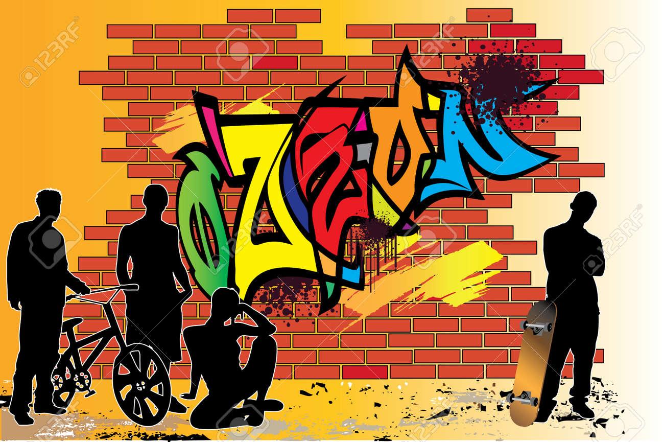 Graffiti wall vector free - Teenagers Nearby Of Graffiti Wall Stock Vector 4271518