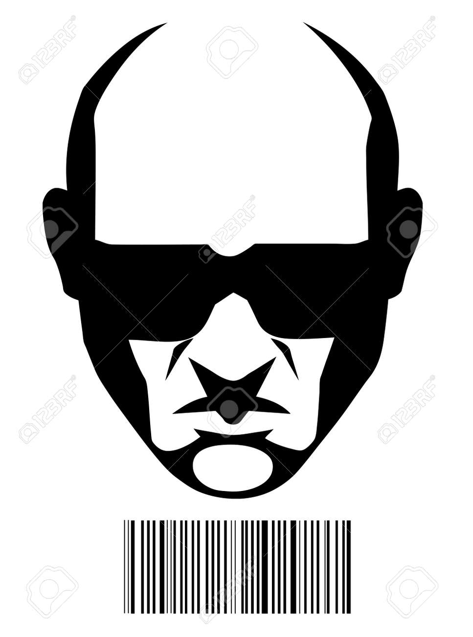 Hitman Face And Barcode Identification Royalty Free Cliparts Vectors And Stock Illustration Image 5467274