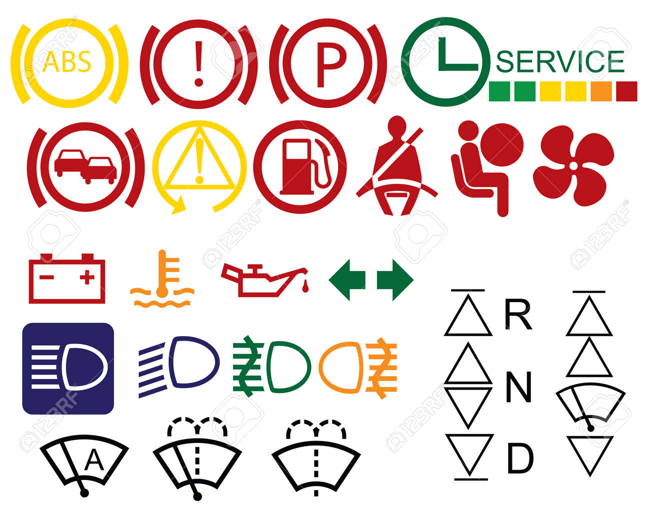Car Dashboard Signs Isolated On White Background Royalty Free - Car image sign of dashboarddashboard warning lights stock images royaltyfree images