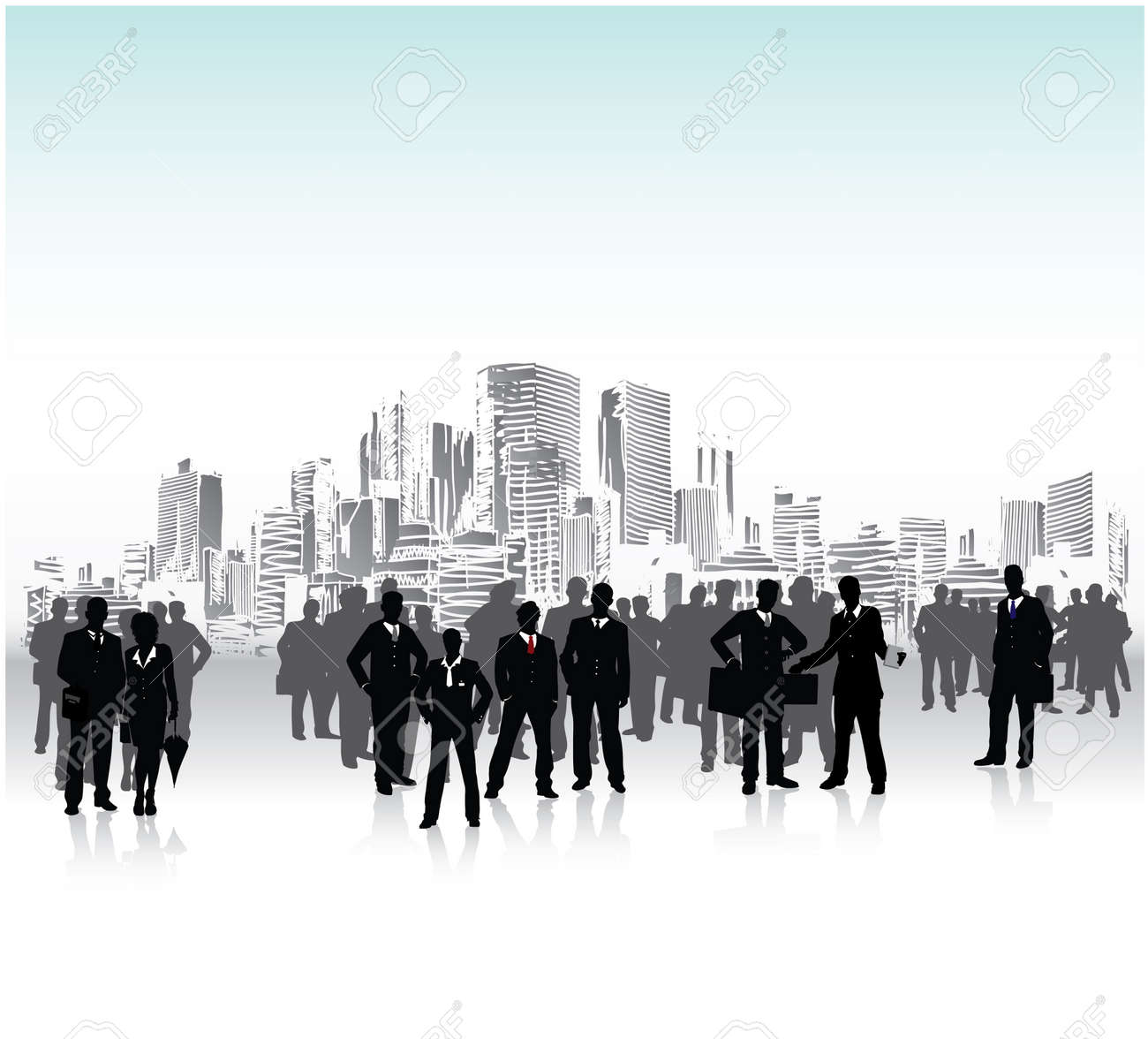 Business people urban crowd, conceptual vector Stock Vector - 5547733