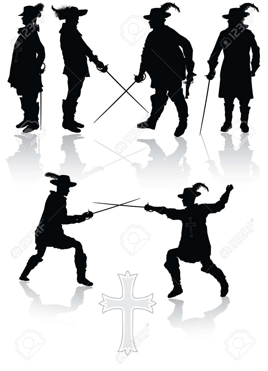 Royal musketeers collection in different poses vector illustration Stock Vector - 5633497