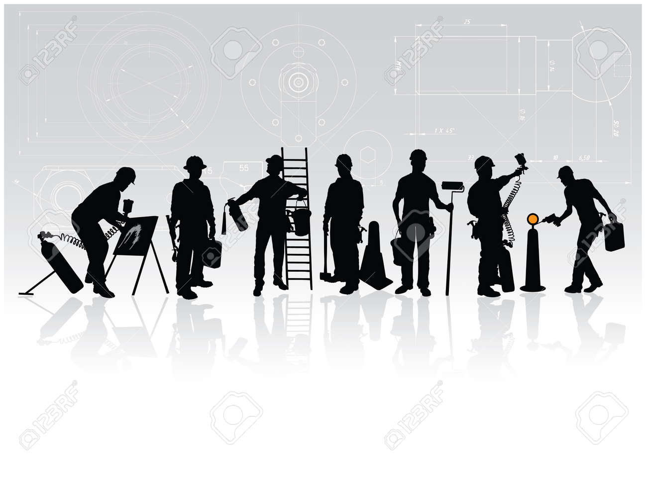 Construction workers silhouettes with different tools on technical background Stock Vector - 5633501