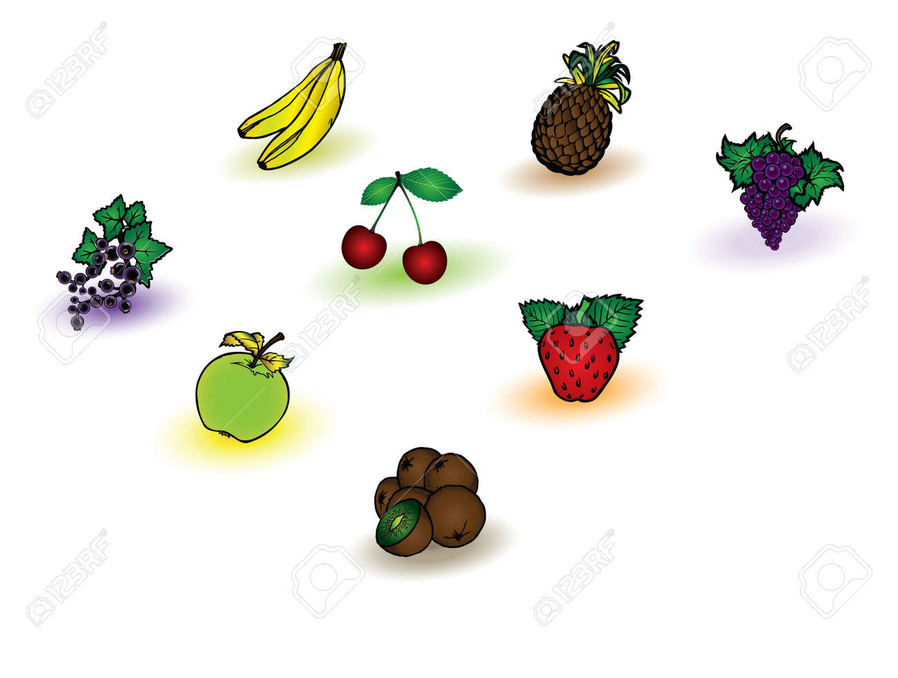 Different fruits vector collection on white background Stock Vector - 5689932