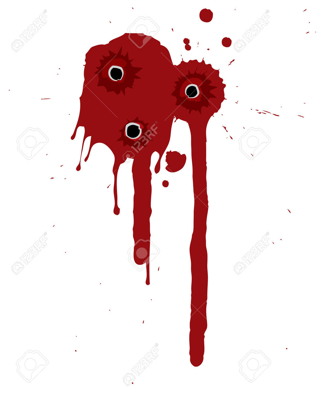 Splattered blood pattern with drips and shotgun holes - 5852378