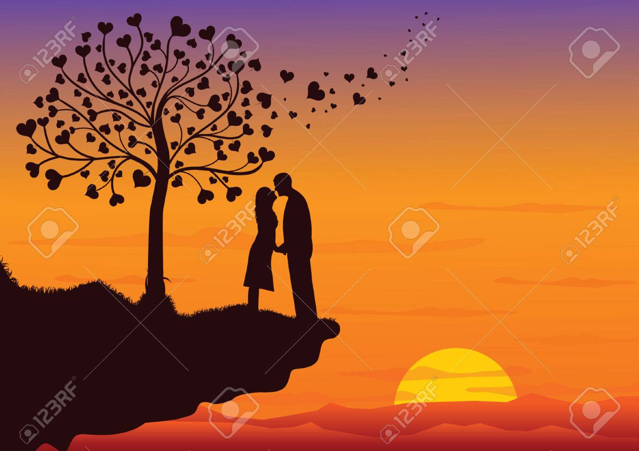 Couple Kissing into the nature Stock Vector - 6397437