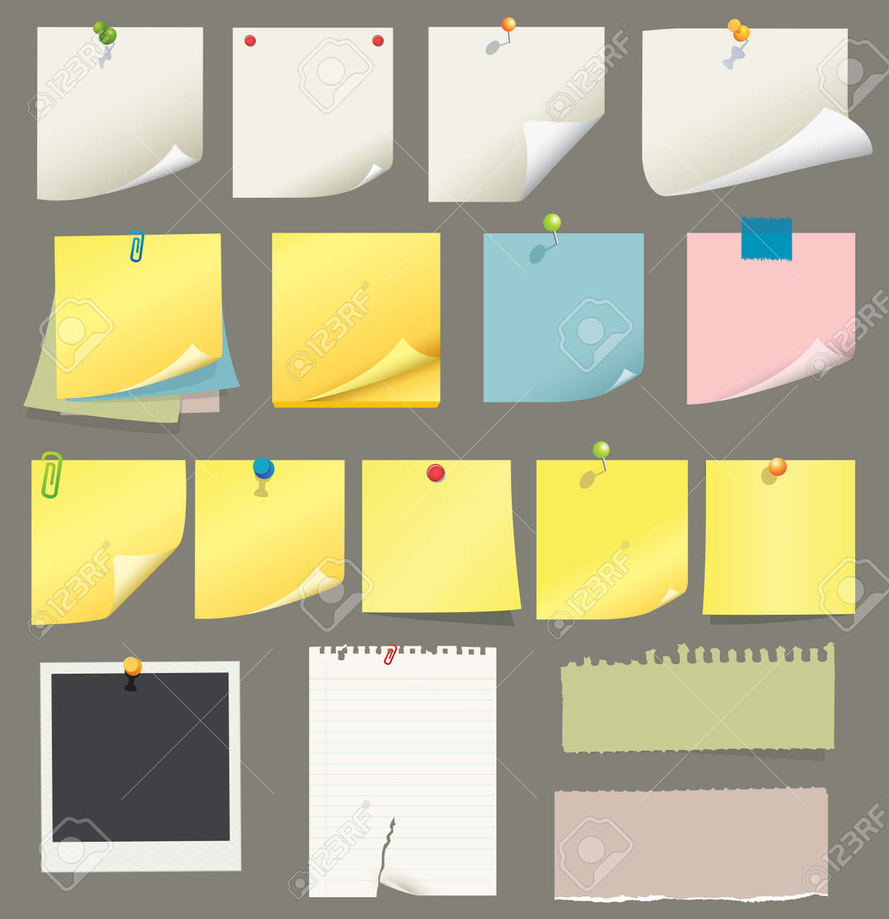 paper and post-it collection Stock Vector - 7295087