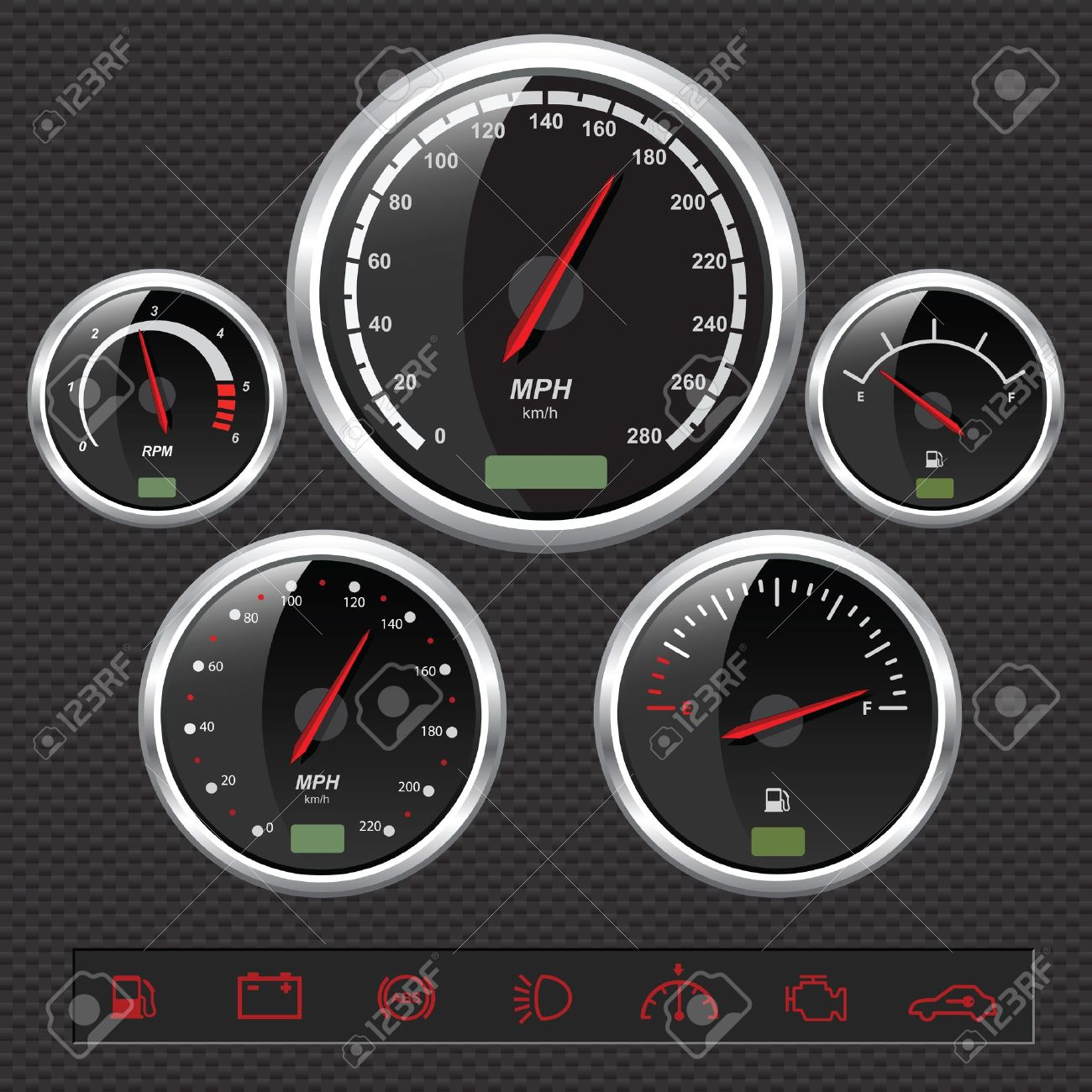Sport Car Dials Stock Vector - 8487152