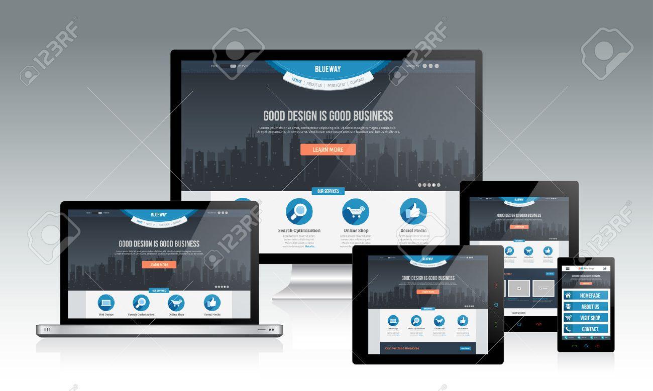 responsive web design mockup royalty free cliparts vectors and