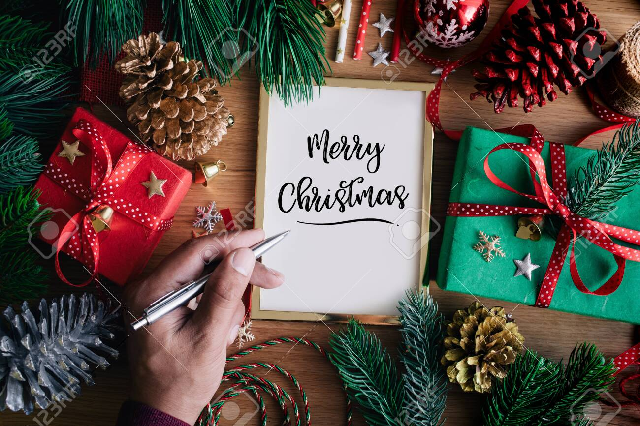 Merry Christmas Writing Ideas.Merry Christmas Concepts With Human Hand Writing Cards With Gift