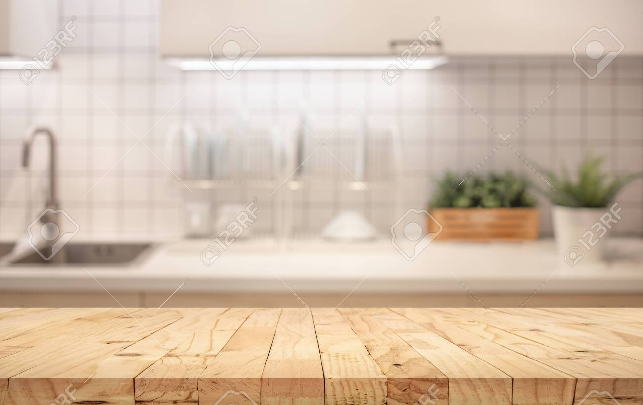 Wood Table Top On Blur Kitchen Counter roombackground.For ...