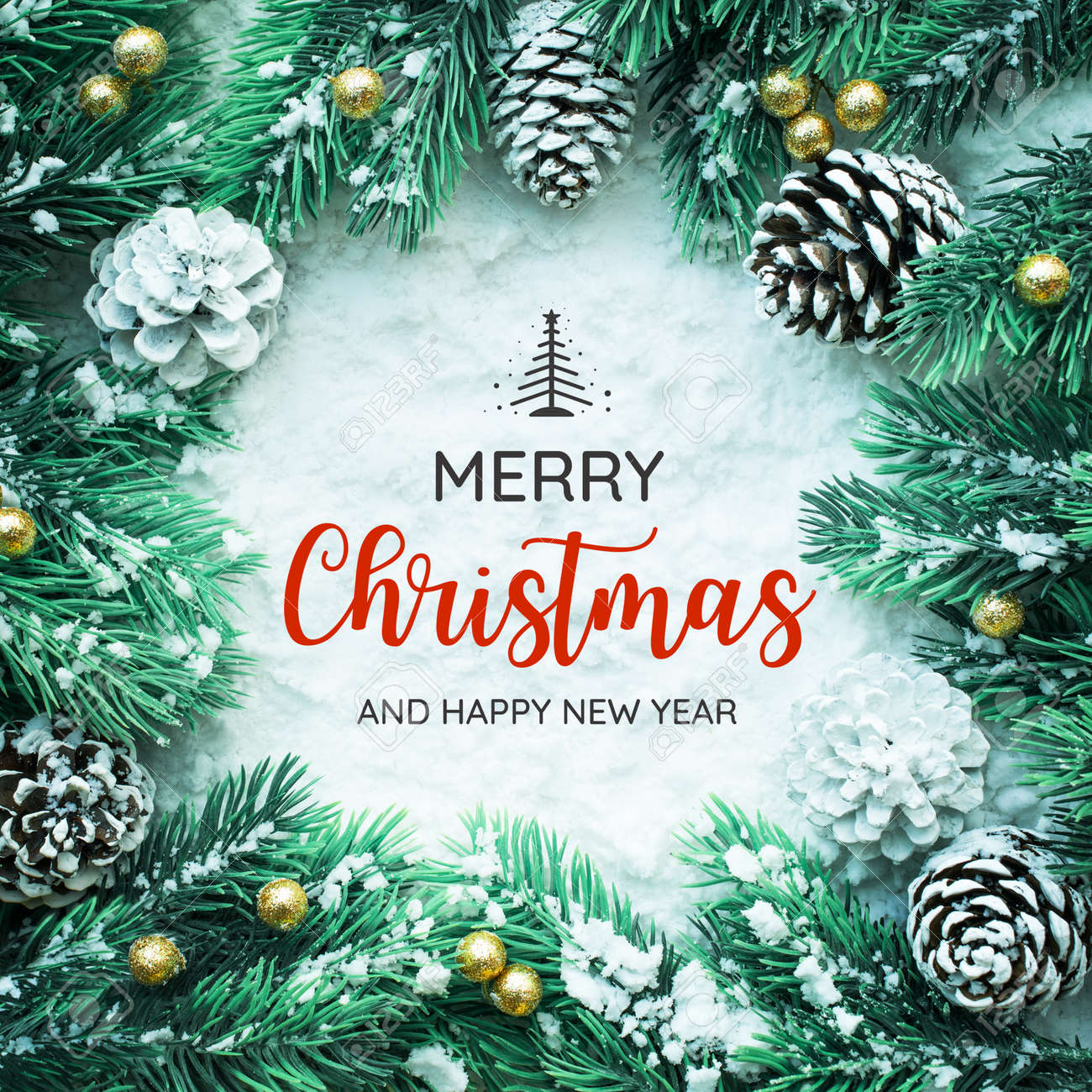 MERRY CHRISTMAS AND HAPPY NEW YEAR typography,text with christmas ornament decoration design - 128095679