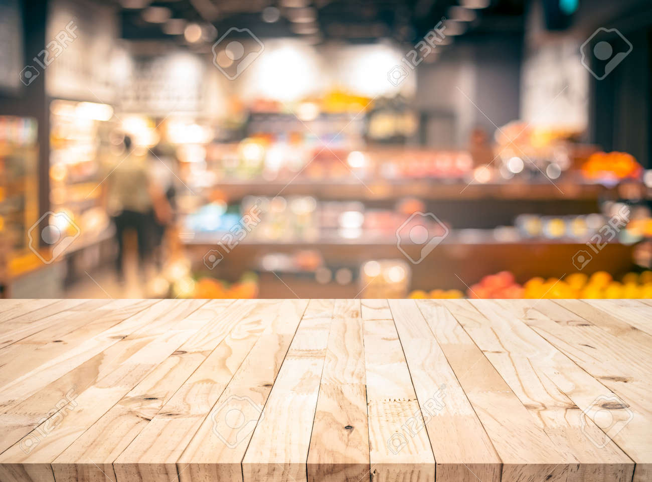 Wood texture table top (counter bar) with blur grocery,market store background.For montage product display or design key visual layout - 137972660