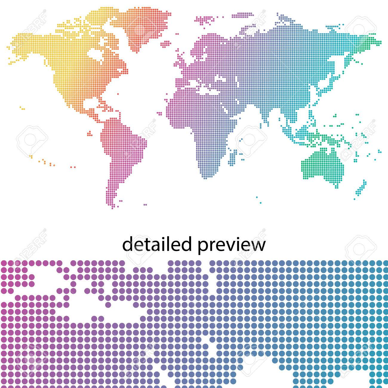Colorful & dotted world map - 59435247