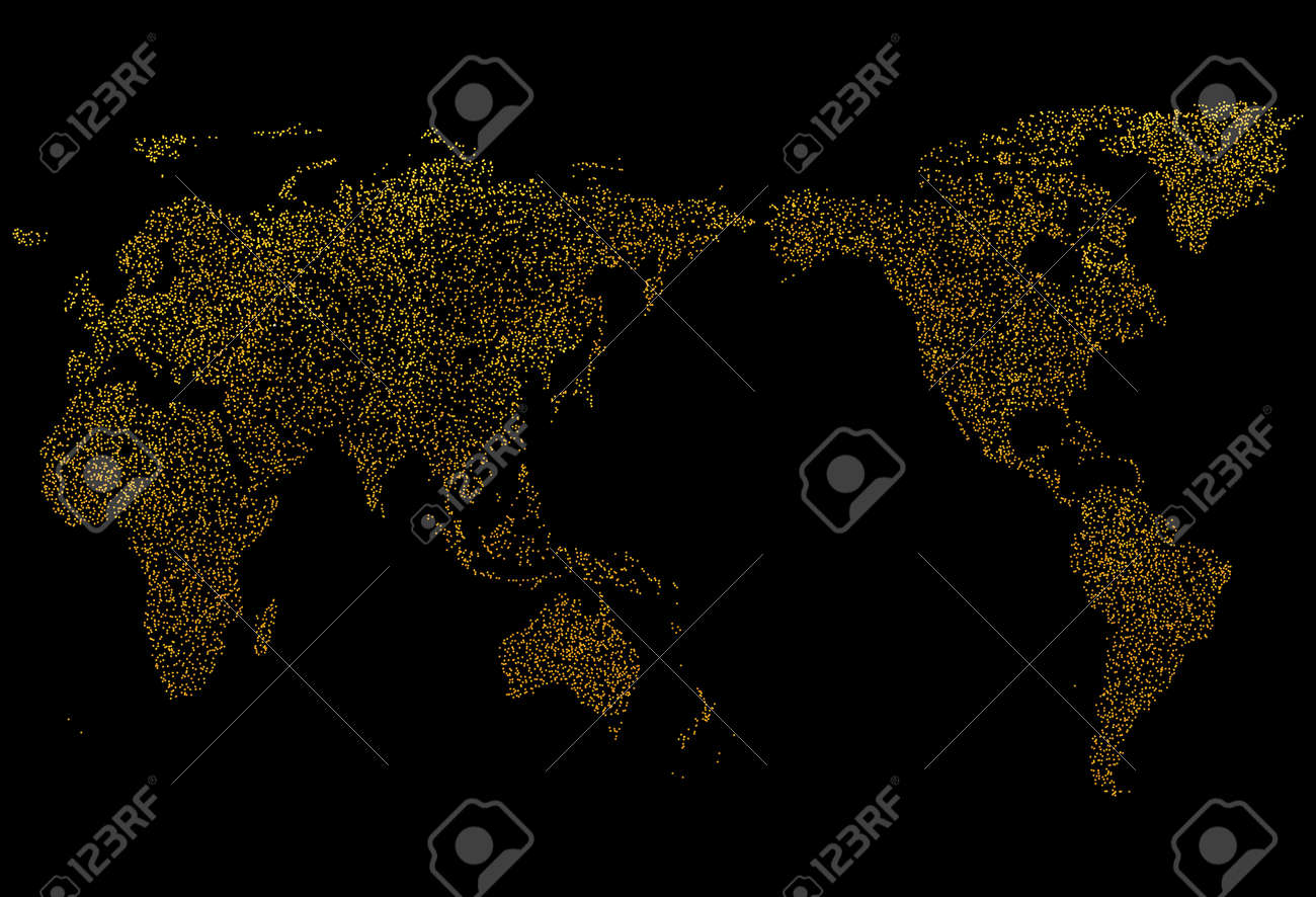Detailed dotted world map illustration on dark black background detailed dotted world map illustration on dark black background design golden color and luxury concept gumiabroncs Choice Image
