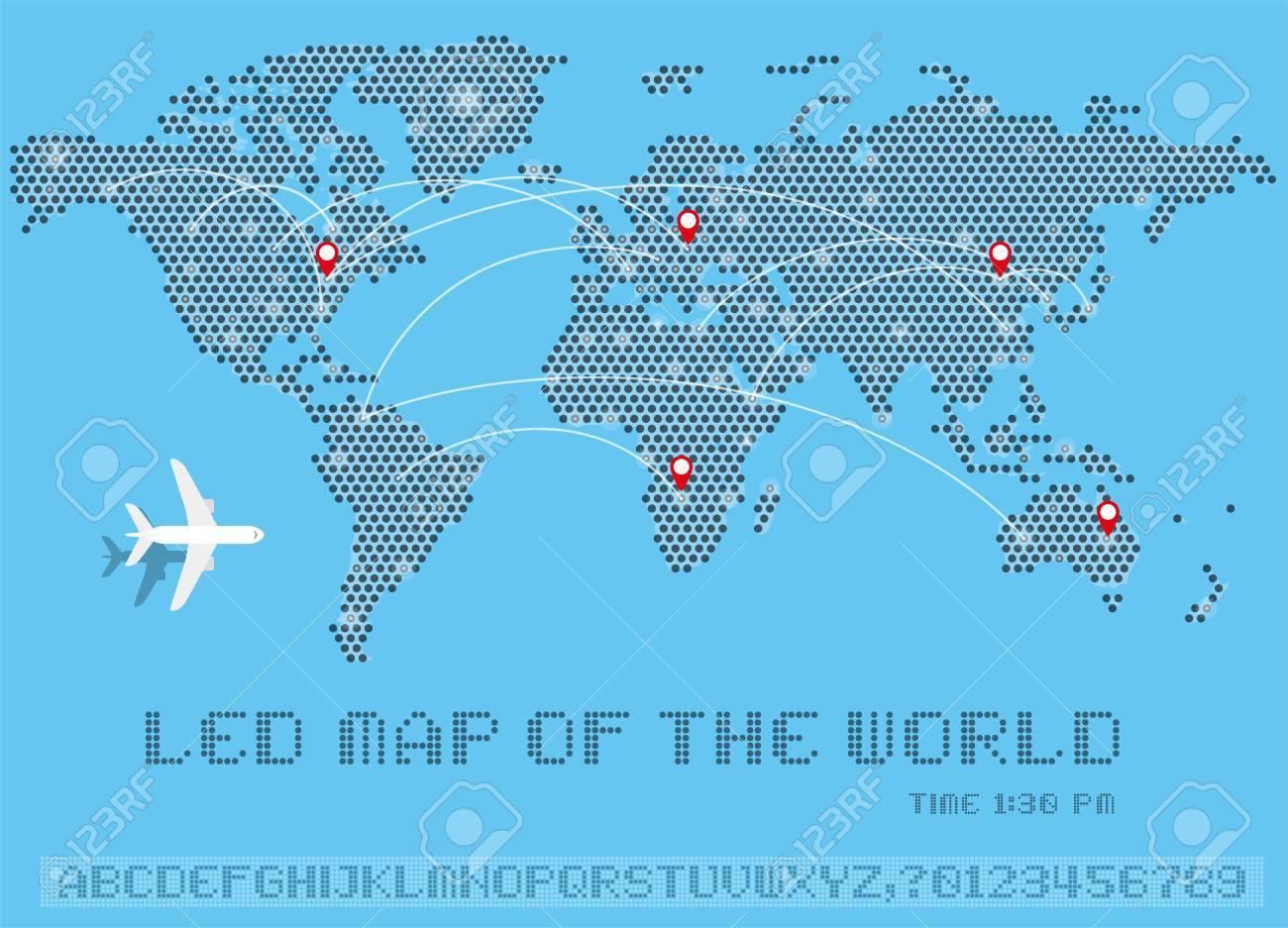 World map of dots led uppercase english alphabet number vector world map of dots led uppercase english alphabet number vector illustration foto de gumiabroncs Images