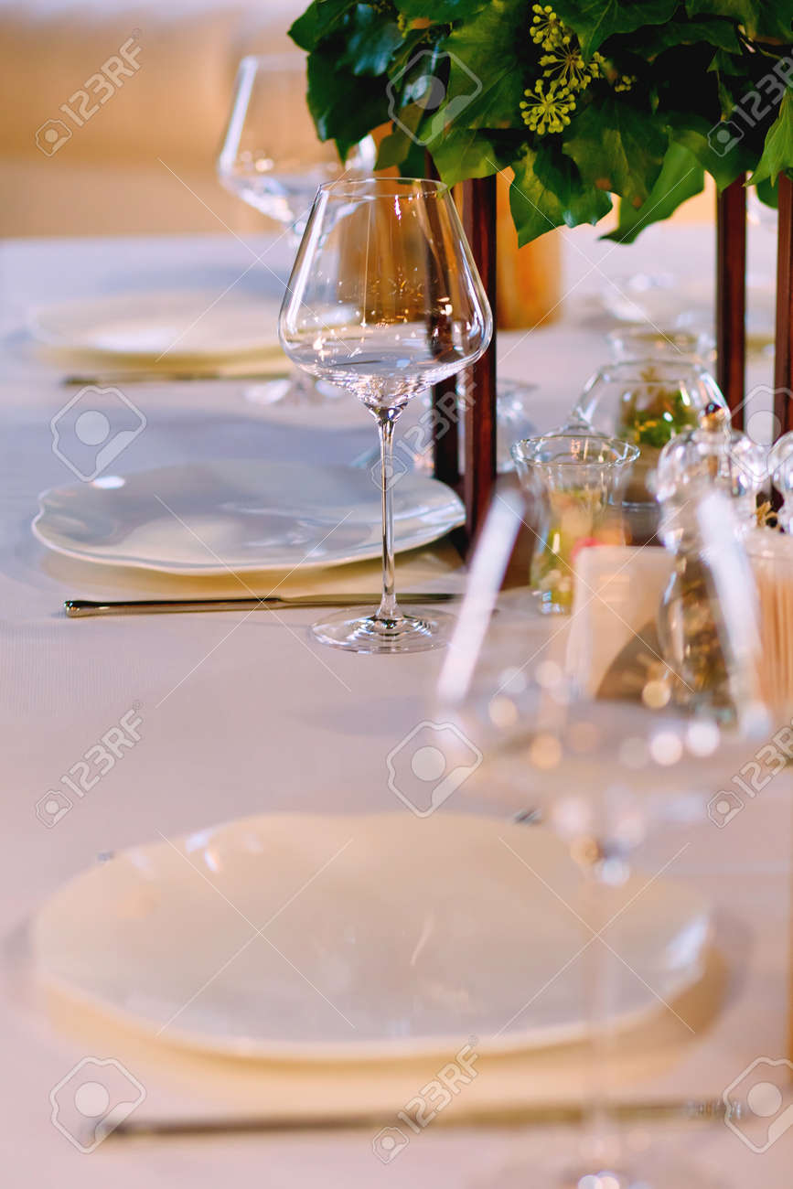 Elegant Restaurant Table Setting Service for Reception with Reserved Card Stock Photo - 92841193 & Elegant Restaurant Table Setting Service For Reception With Reserved ...