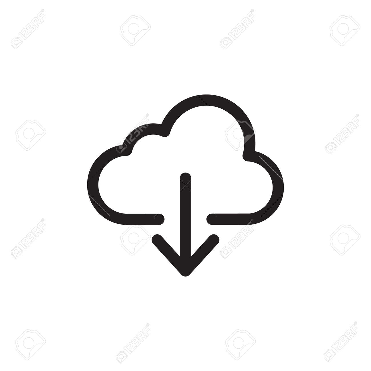 Cloud Download Icon In Trendy Design Vector - 150099390