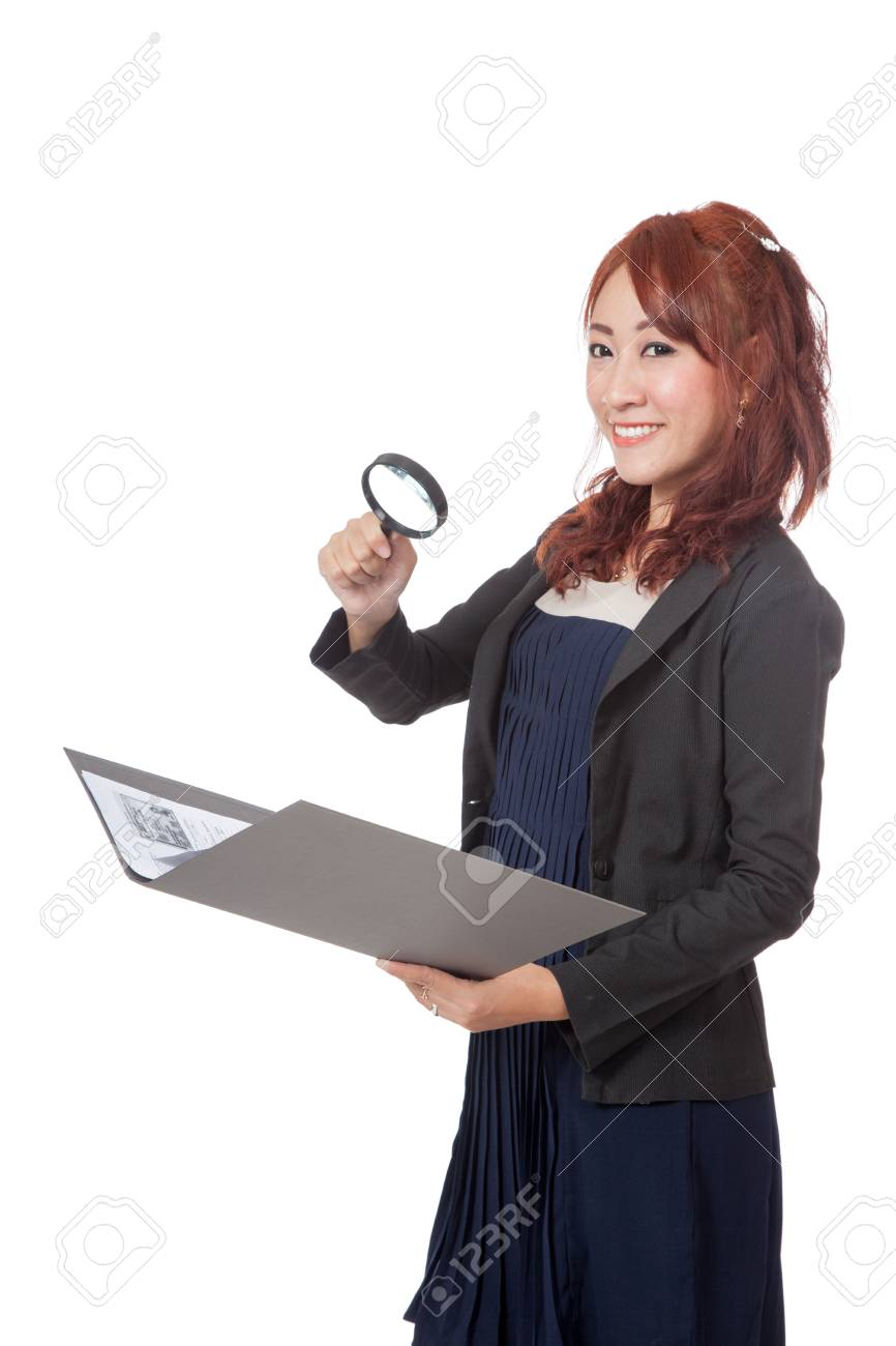 Asian office girl use magnifying glass check on data and smile isolated on white Stock Photo - 28012363