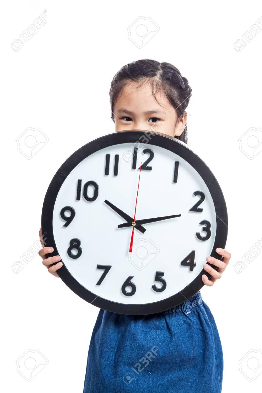 Asiatisches Kleines Mädchen Halten Eine Uhr Schließen Den Mund Auf ...