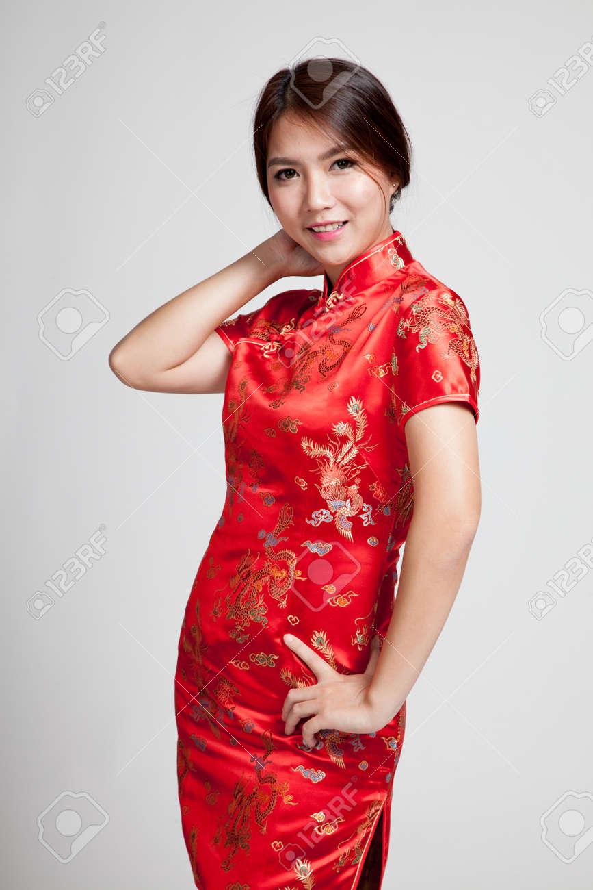 49c8120c05 Asian girl in chinese cheongsam dress on gray background Stock Photo -  56170610