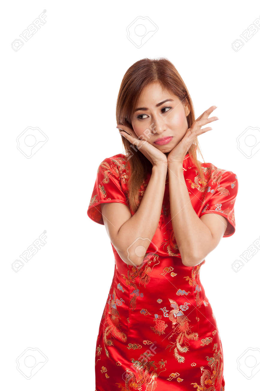 9a26dddc48 Sad Asian girl in chinese cheongsam dress on gray background Stock Photo -  58748154