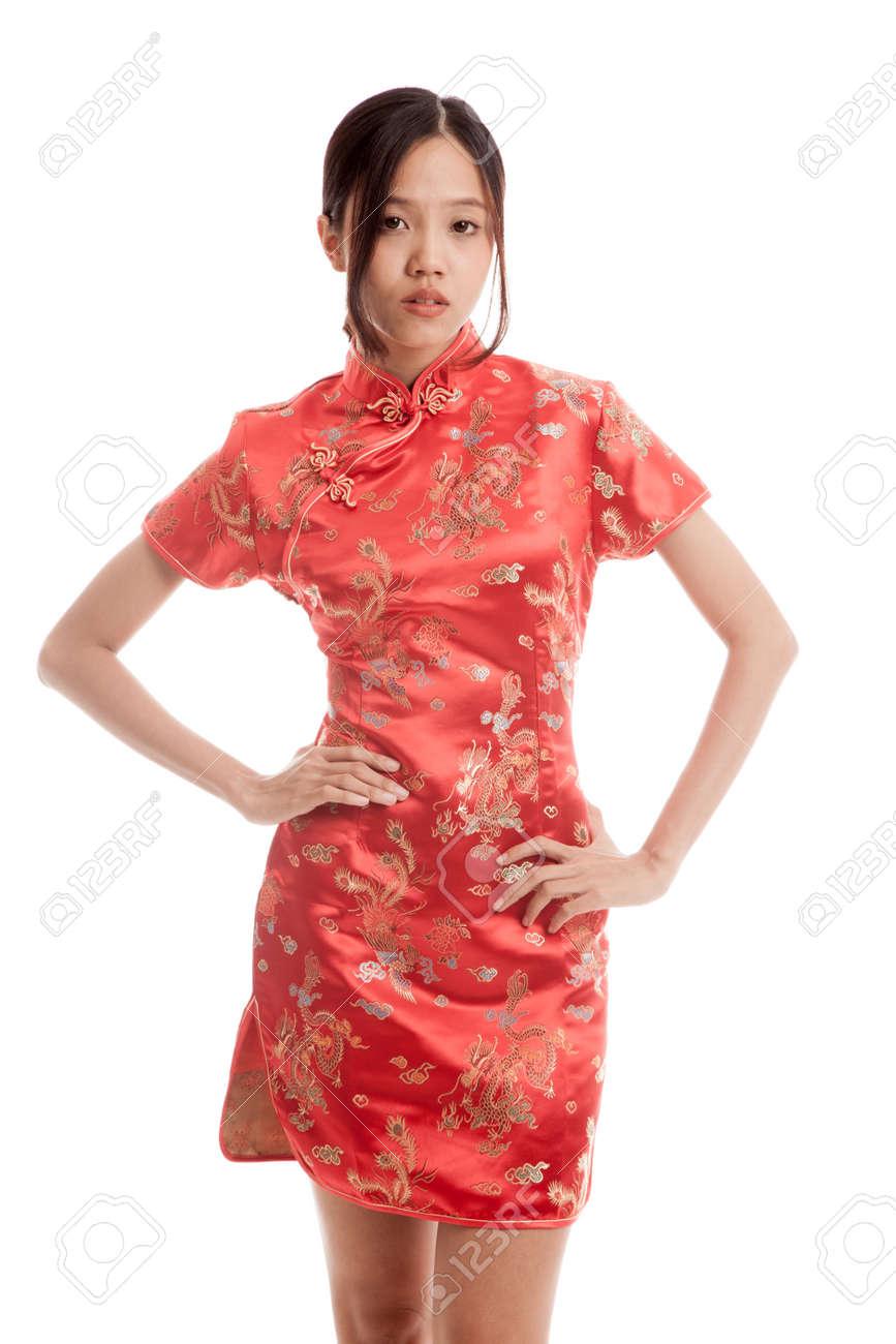 Asian girl in chinese cheongsam dress isolated on white background . Stock  Photo - 60650111