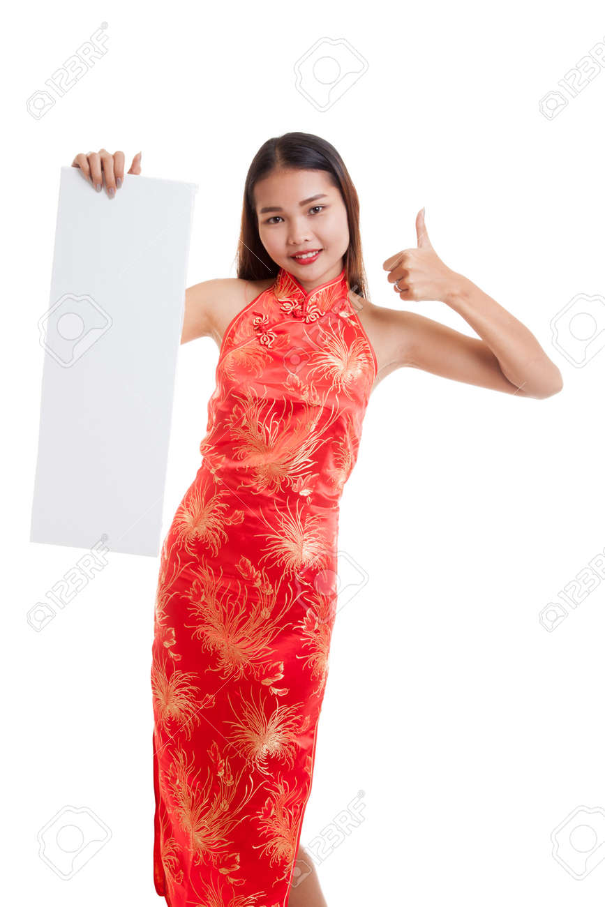 Asian Girl In Chinese Cheongsam Dress Thumbs Up With Red Blank ...