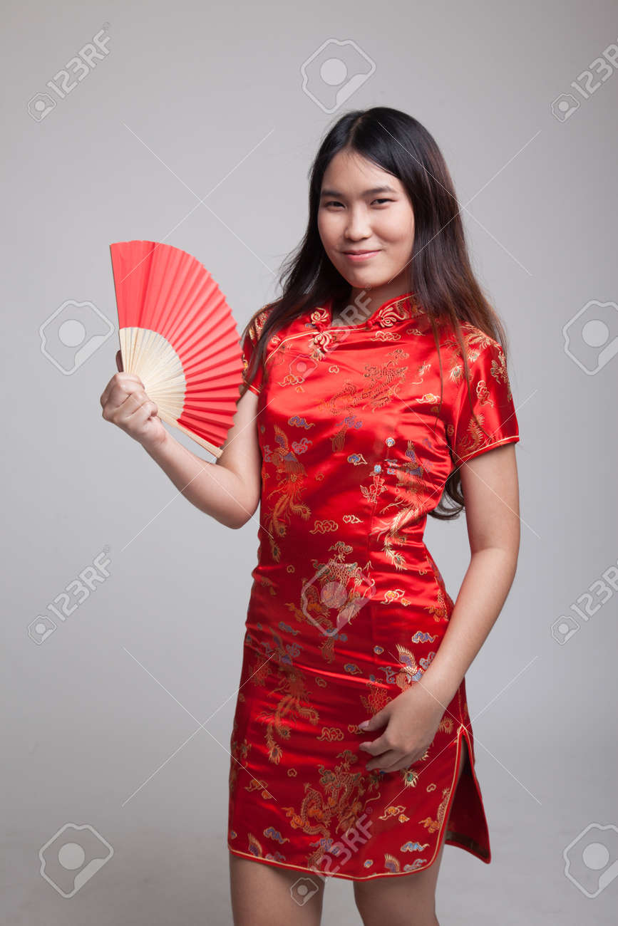 8bdbaf978b Asian girl in chinese cheongsam dress on gray background Stock Photo -  87183087