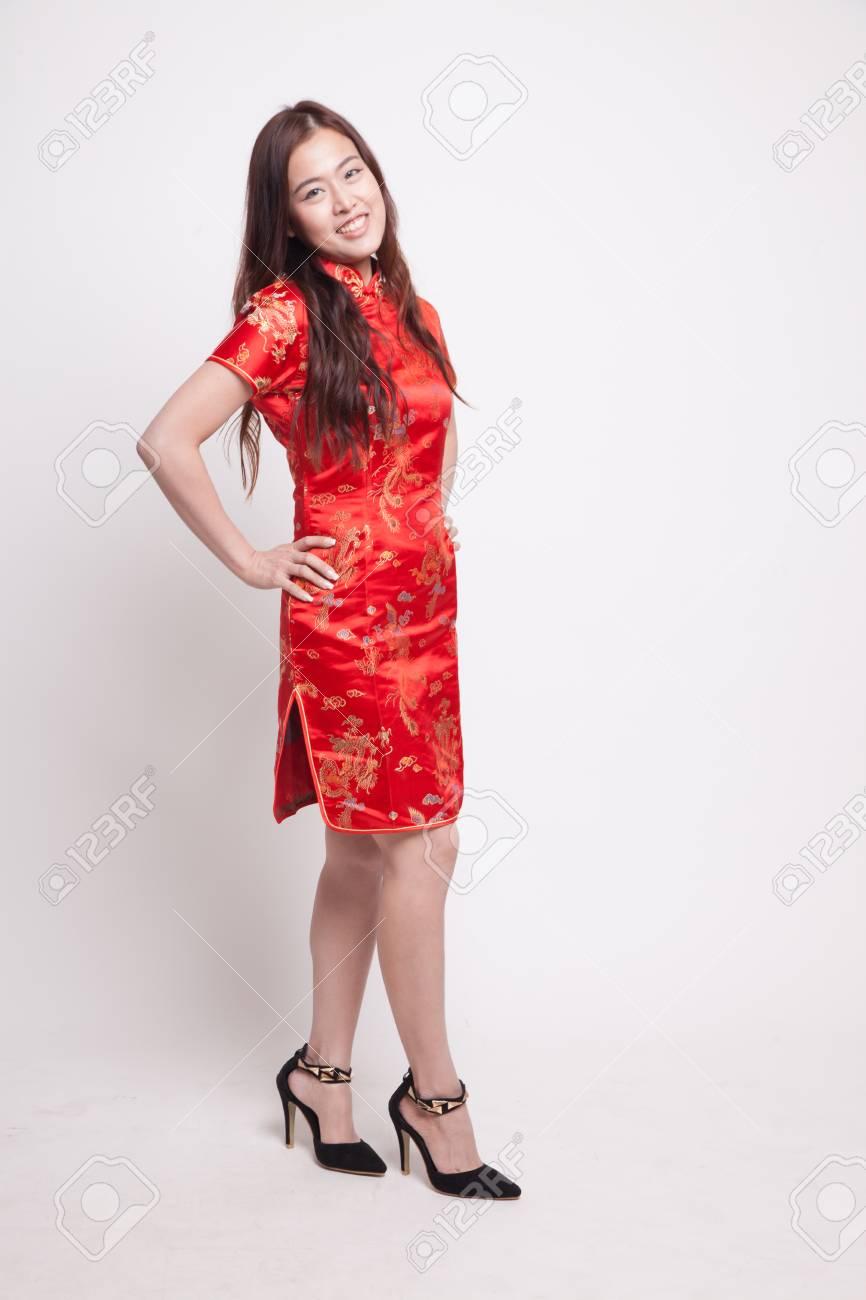 156e490d3 Asian girl in red chinese cheongsam dress on white background Stock Photo -  100823798