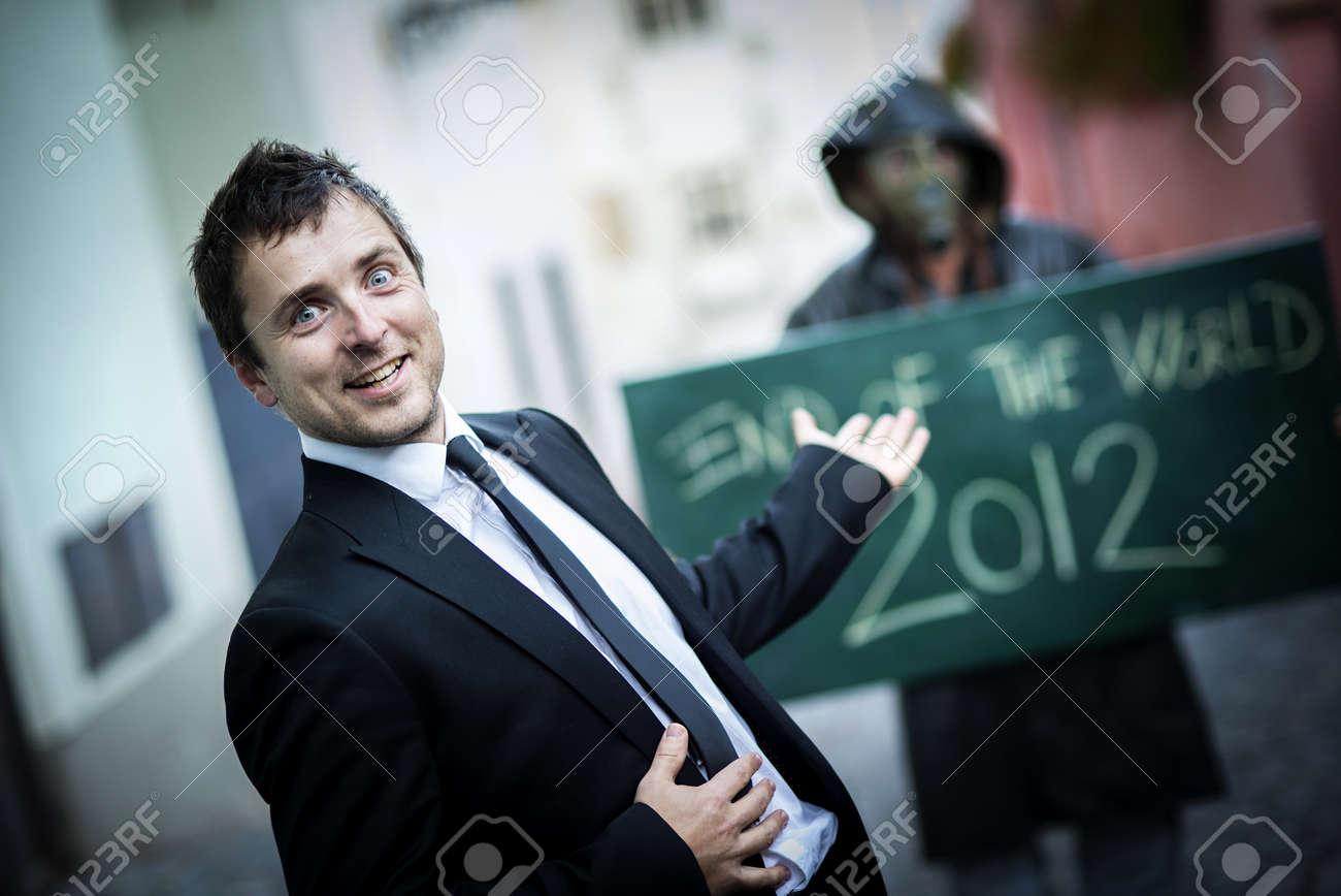 Business man is scared of the end of the world Stock Photo - 16334562