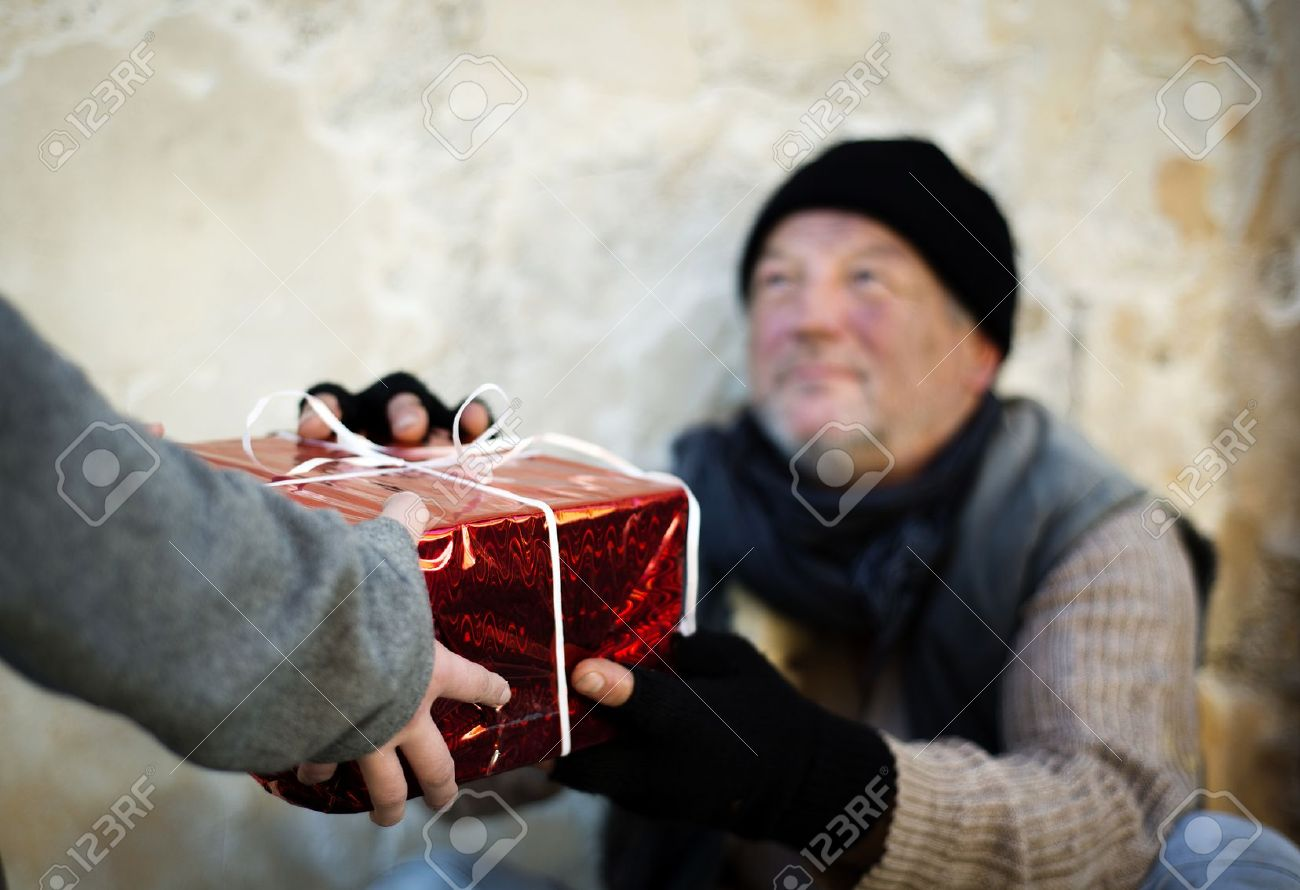 Christmas Gift For Homeless Man Stock Photo, Picture And Royalty ...