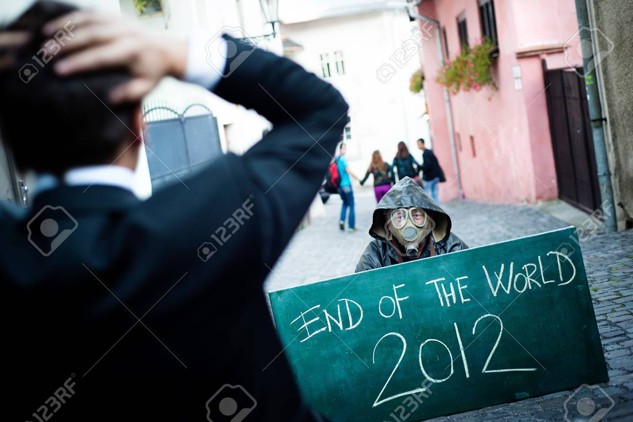 Business man is scared of the end of the world Stock Photo - 16436959