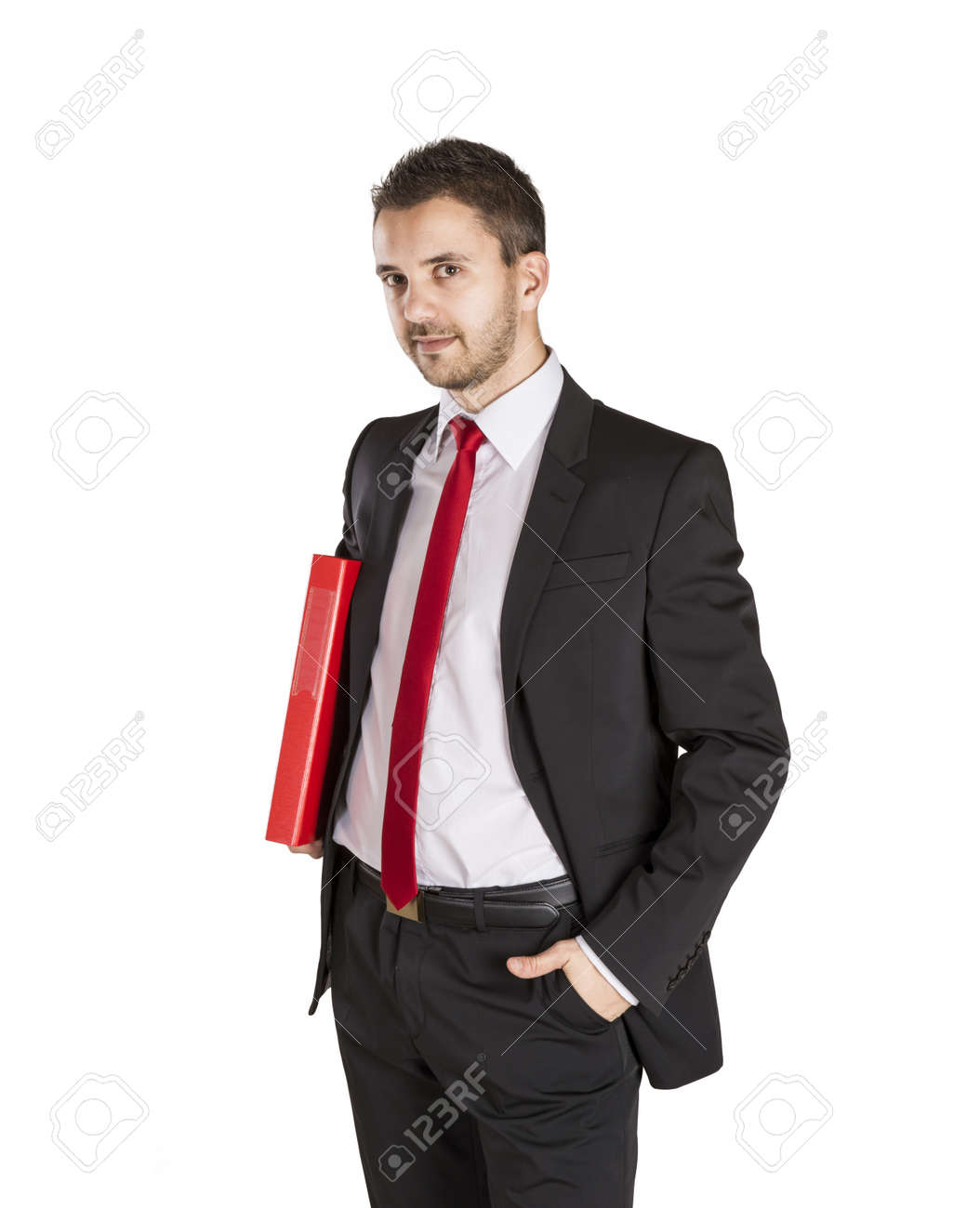 Successful business man is standing on isolated white background Stock Photo - 16569716