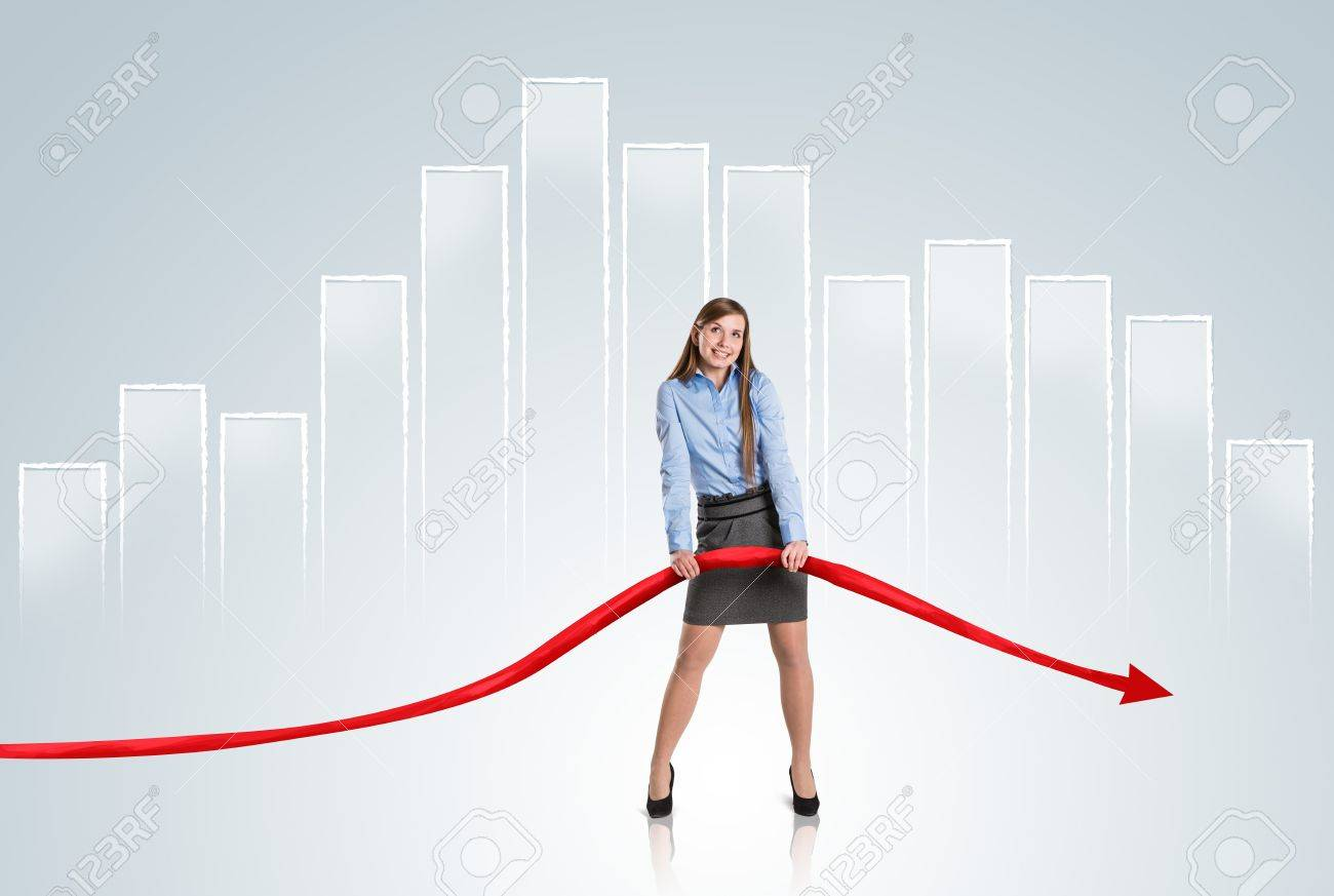 Business woman is trying to increase market statistics. Stock Photo - 16615305