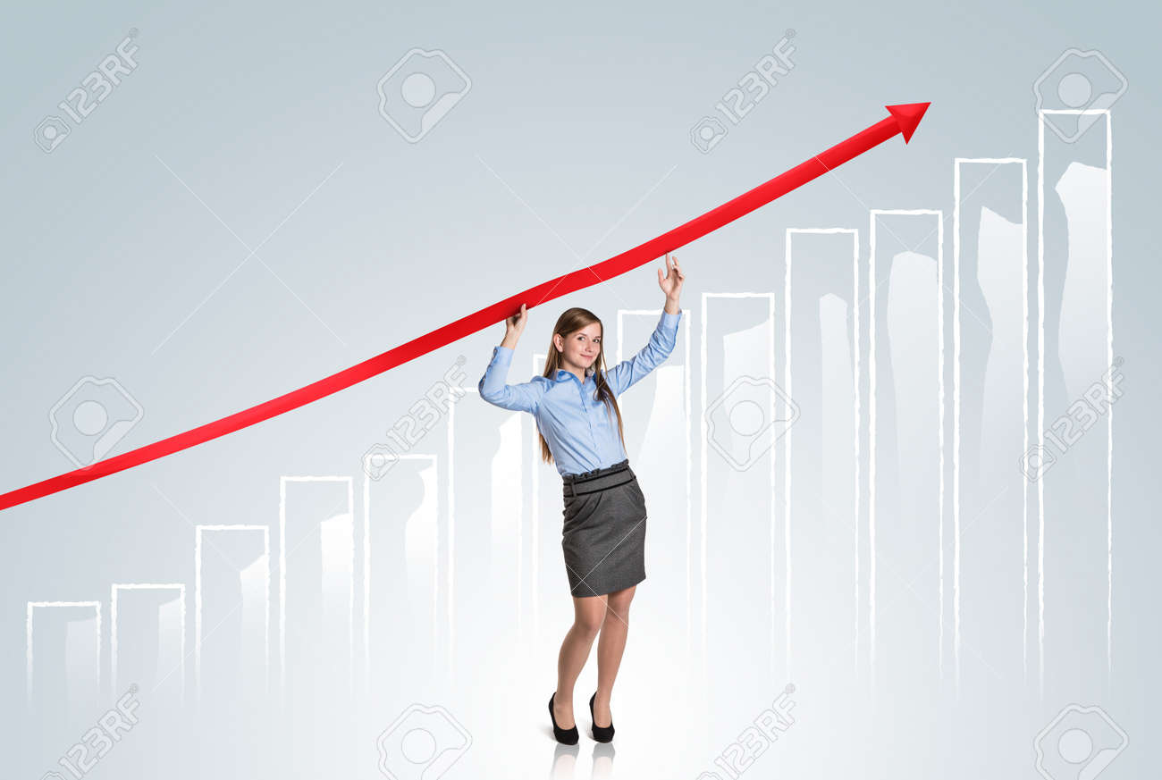 Business woman is trying to increase market statistics. Stock Photo - 16615304