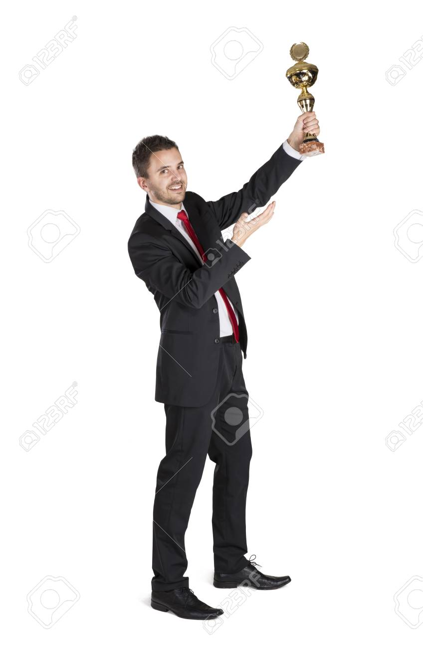 Successful business man is celebrating success on isolated white background Stock Photo - 16637685