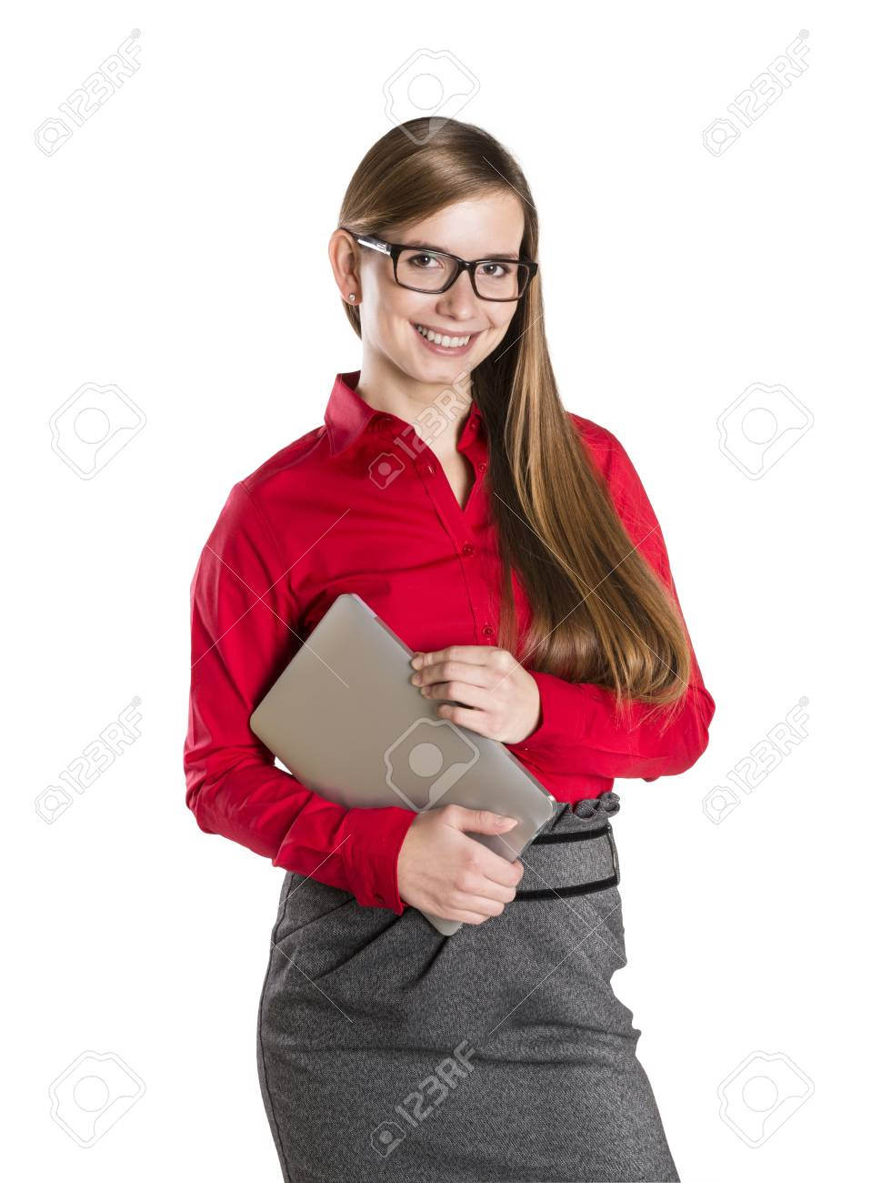 Young beautiful girl with pc tablet on white isolated background. Stock Photo - 16733297