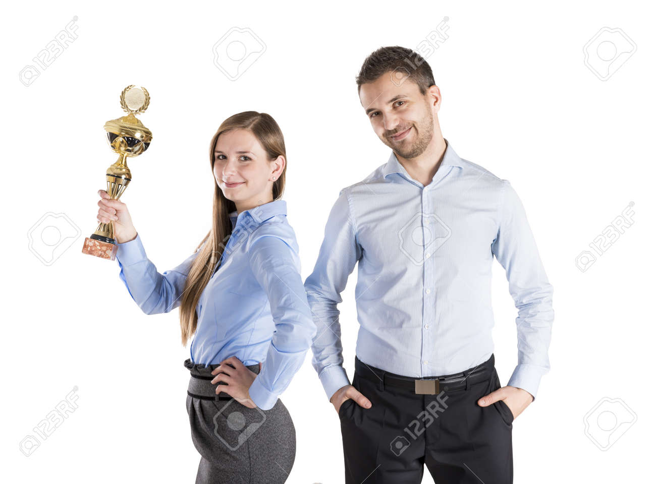 Successful business man and woman are celebrating on isolated white background Stock Photo - 16880957