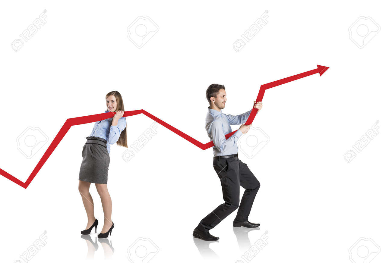Business woman is trying to increase market statistics Stock Photo - 17277596
