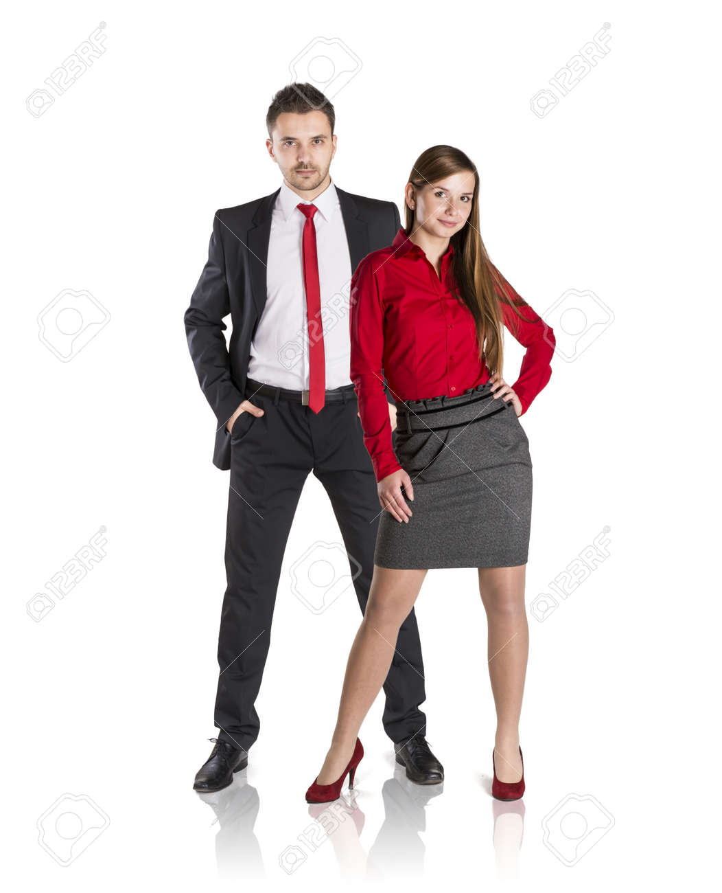 Successful business couple is standing on isolated background. Stock Photo - 17593766