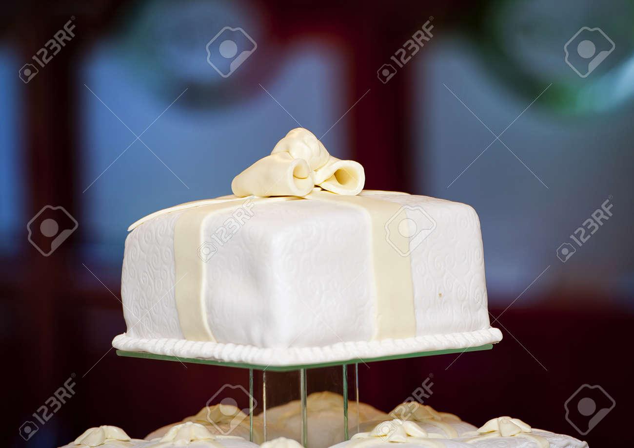 Beautiful And Tasty Wedding Cake At Wedding Reception Stock Photo ...