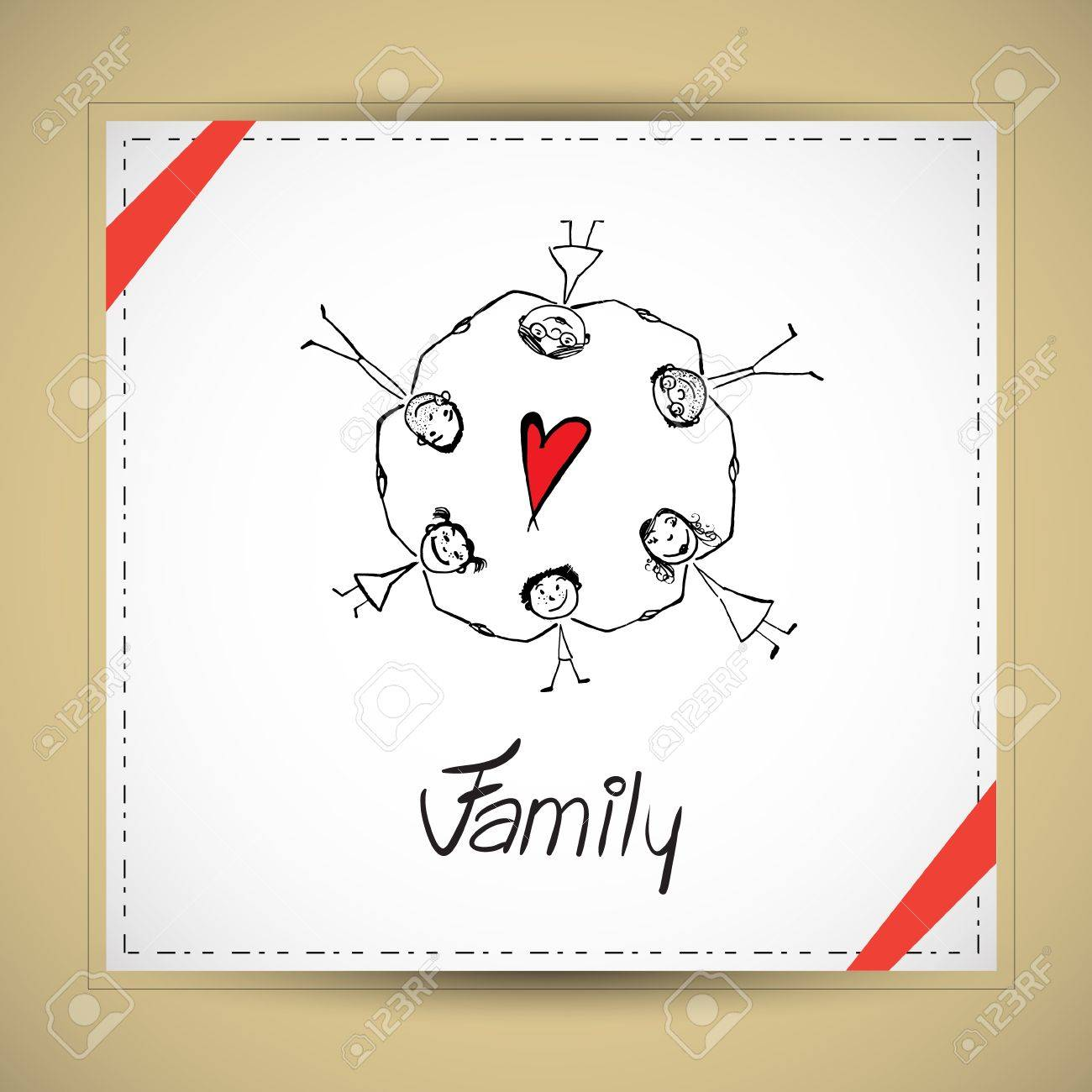 Vector illustration with hand drawn happy family Stock Vector - 21471192