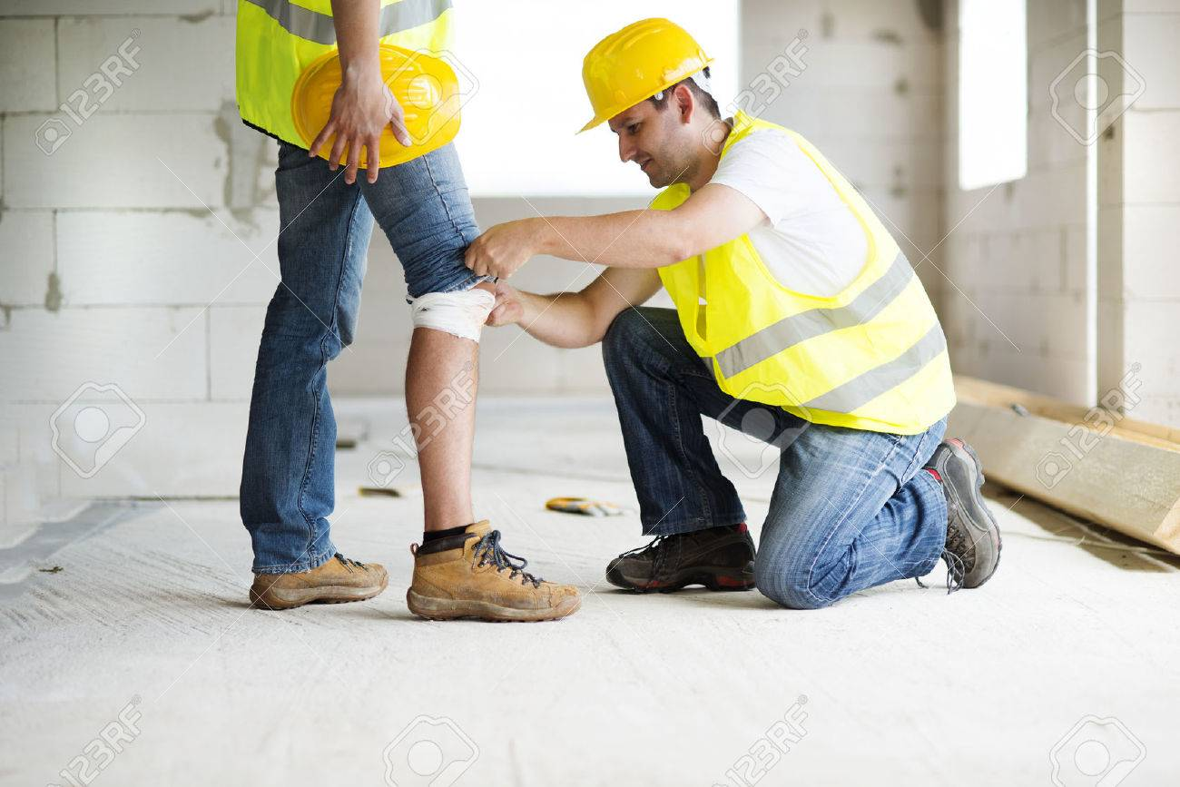Construction worker has an accident while working on new house Stock Photo - 22225599