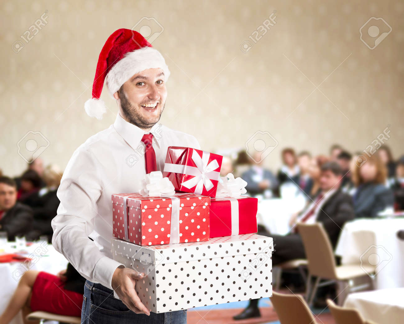 Funny businessman with christmas cap is on conference Stock Photo - 22663575
